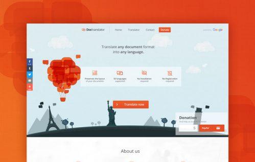 Diseño de la cabecera de la página web de inicio de DocTranslator