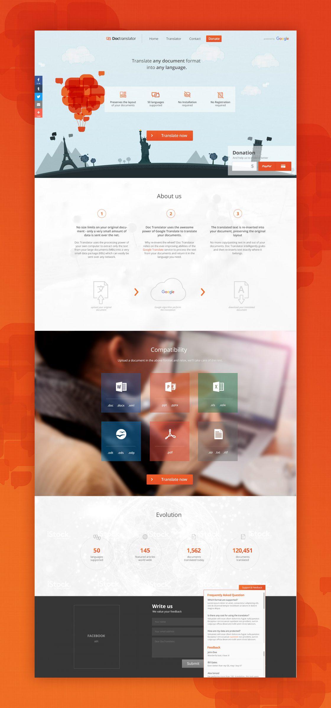 Diseño completo de la página web de inicio de DocTranslator