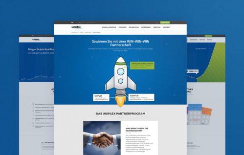 Diseño de tres páginas de la web de Uniplex