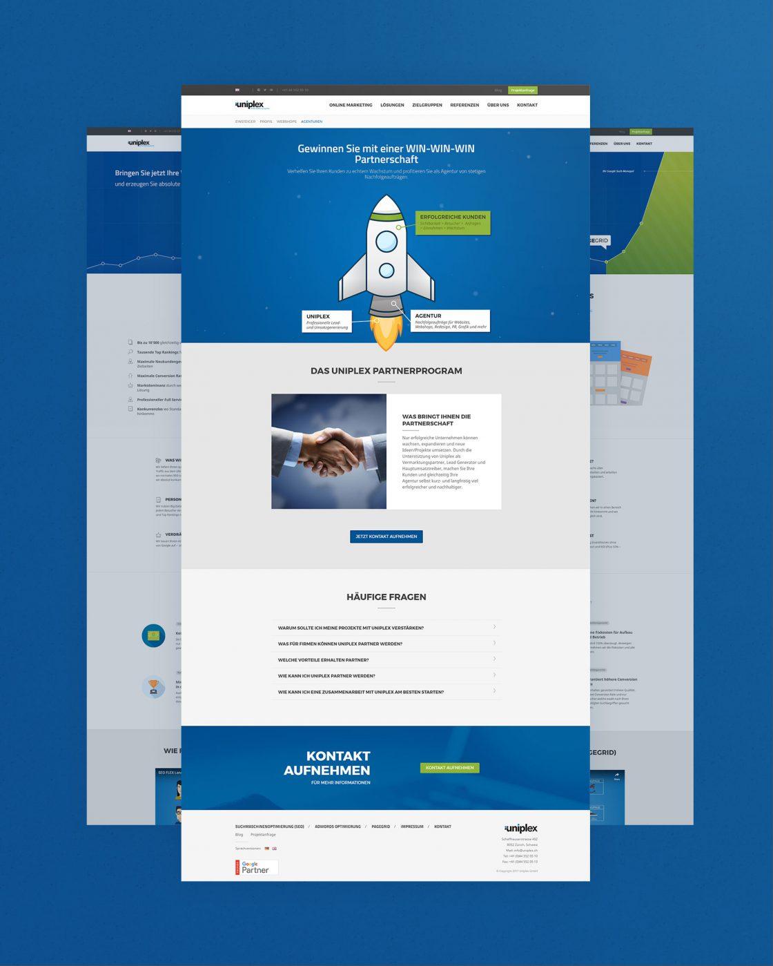Vista completa de algunas páginas web de Uniplex